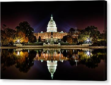 Us Capitol Building And Reflecting Pool At Fall Night 1 Canvas Print by Val Black Russian Tourchin