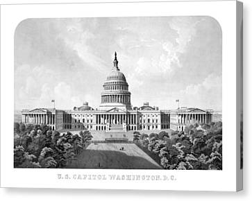 Us Capitol Building - Washington Dc Canvas Print by War Is Hell Store