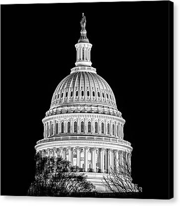 Us Capitol Dome In Black And White Canvas Print by Val Black Russian Tourchin