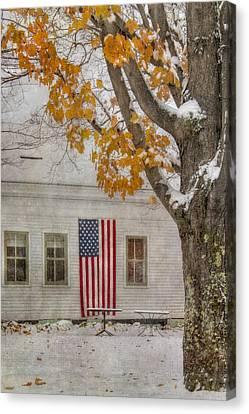 Us Flag In Autumn Snow Canvas Print by Joann Vitali