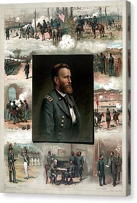 Us Grant's Career In Pictures Canvas Print by War Is Hell Store