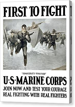 Us Marine Corps - First To Fight  Canvas Print by War Is Hell Store