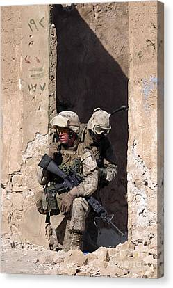 U.s. Marines Taking Cover In An Canvas Print by Stocktrek Images