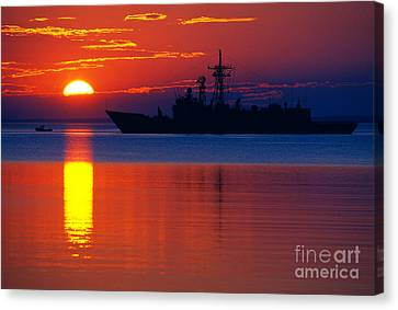 Us Navy Destroyer At Sunrise Canvas Print by Thomas R Fletcher