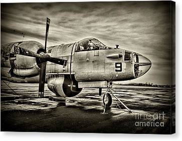 Us Navy Top Gun Aircraft In Black And White Canvas Print by Paul Ward