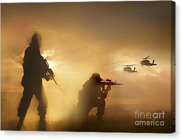 U.s. Special Forces Provide Security Canvas Print by Tom Weber