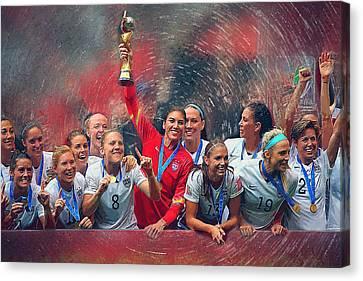 Us Women's Soccer Canvas Print by Semih Yurdabak