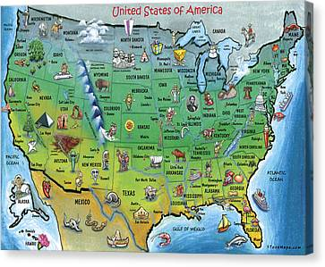 Usa Cartoon Map Canvas Print by Kevin Middleton