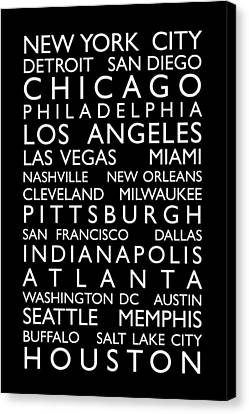 Usa Cities Bus Roll Canvas Print by Michael Tompsett