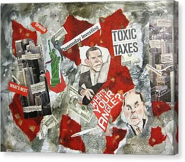 Usa Financial Meltdown Canvas Print by David Raderstorf