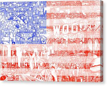 Usa Flag 1 Canvas Print by Bekim Art