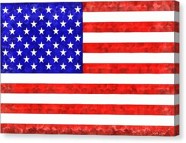 Usa Flag  - Acrylic Style -  - Pa Canvas Print by Leonardo Digenio