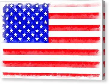 Usa Flag  - Aquarell Style -  - Da Canvas Print by Leonardo Digenio