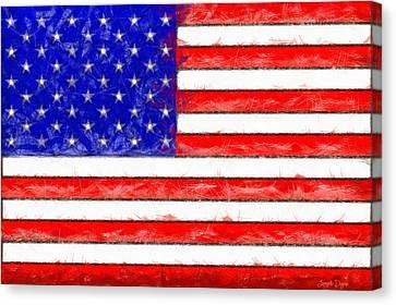 Usa Flag  - Pencil Style -  - Pa Canvas Print by Leonardo Digenio
