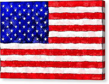 Usa Flag  - Wax Style -  - Da Canvas Print by Leonardo Digenio
