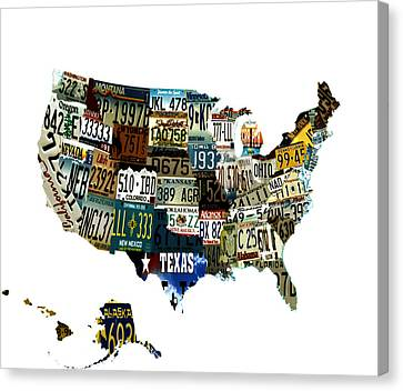Usa License Tag Map Canvas Print by Brian Reaves