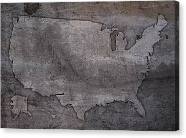 Usa Map Outline On Concrete Wall Slab Canvas Print by Design Turnpike