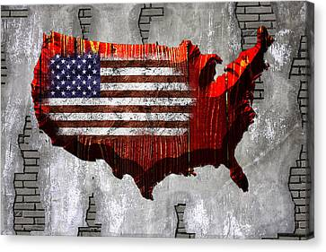 Usa Map Red Wood Canvas Print by Mihaela Pater