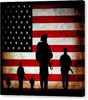 Usa Military Canvas Print by Angelina Vick