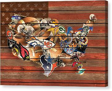 Usa Nfl Map Collage 6 Canvas Print by Bekim Art