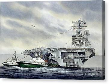 Uss Abraham Lincoln Canvas Print by James Williamson