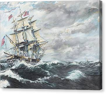 Uss Constitution Heads For Hm Frigate Guerriere Canvas Print by Vincent Alexander Booth