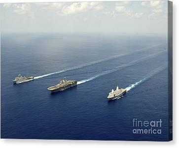 Uss Pearl Harbor, Uss Makin Island Canvas Print by Stocktrek Images