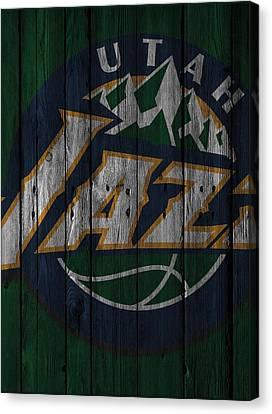 Utah Jazz Wood Fence Canvas Print by Joe Hamilton