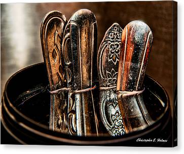 Utensils Reflected Canvas Print by Christopher Holmes