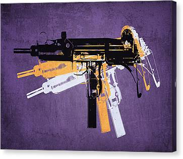 Uzi Sub Machine Gun On Purple Canvas Print by Michael Tompsett