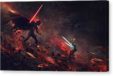 Vader Vs Ahsoka Canvas Print by Guillem H Pongiluppi