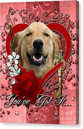 Valentines - Key To My Heart Golden Retriever Canvas Print by Renae Laughner