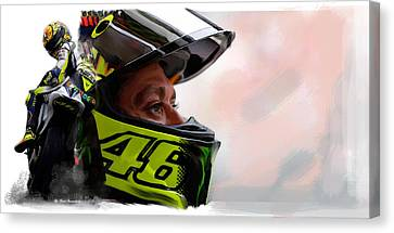 Valentino Rossi  The King Returns  Canvas Print by Iconic Images Art Gallery David Pucciarelli