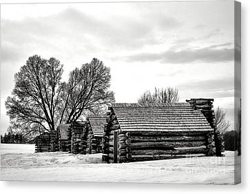 Valley Forge Barracks In Winter  Canvas Print by Olivier Le Queinec