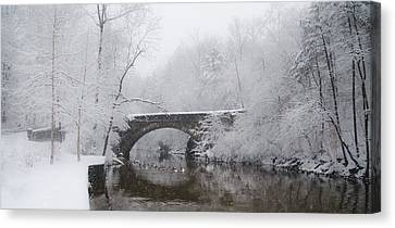 Valley Green Bridge In The Snow Canvas Print by Bill Cannon