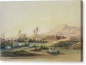 Valley Of The Nile With The Ruins Of The Temple Of Seti I Canvas Print by Prosper Georges Antoine Marilhat