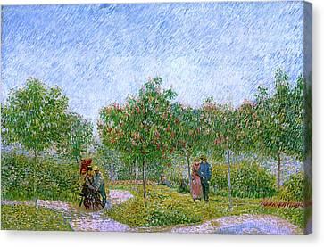 Van Gogh Garden In Montmartre With Lovers Canvas Print by Vincent Van Gogh