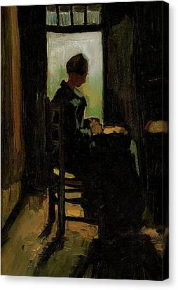 Van Gogh Peasant Woman Peeling Potatoes Canvas Print by Vincent Van Gogh