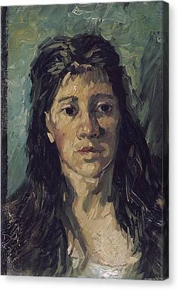 Van Gogh Woman With Hair Loose Canvas Print by Vincent Van Gogh