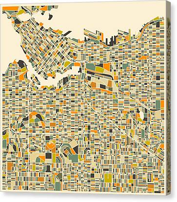 Vancouver Map Canvas Print by Jazzberry Blue