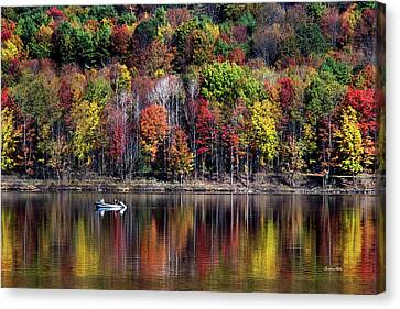 Vanishing Autumn Reflection Landscape Canvas Print by Christina Rollo