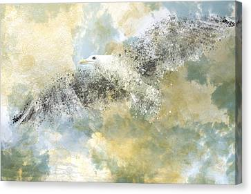 Vanishing Seagull Canvas Print by Melanie Viola