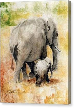 Vanishing Thunder Series - Mama And Baby Elephant Canvas Print by Suzanne Schaefer