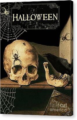 Vanitas Skull And Raven Canvas Print by Striped Stockings Studio