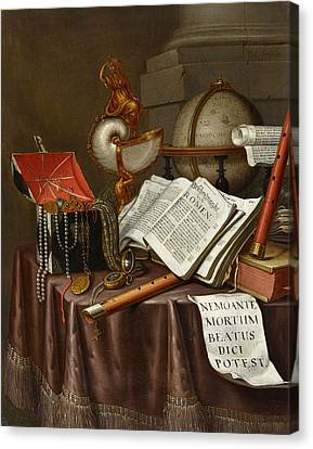 Vanitas Still Life With Books Canvas Print by MotionAge Designs