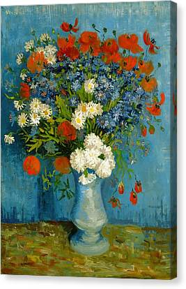 Vase With Cornflowers And Poppies Canvas Print by Van Gogh