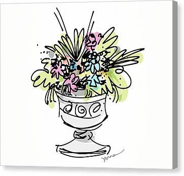 Vase With Flowers Canvas Print by Yvonne Wright