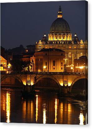 Vatican At Night Canvas Print by Don Wolf