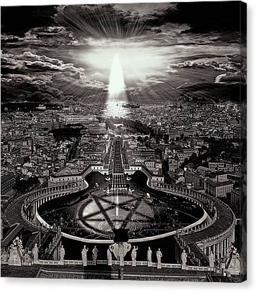 Vatican Rocking View Black And White Canvas Print by Marian Voicu