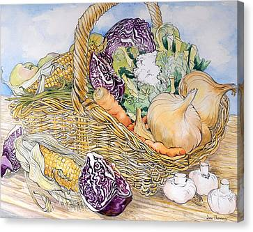 Vegetables In A Basket Canvas Print by Joan Thewsey